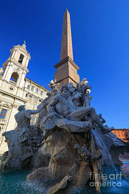 Lazio Photograph - Piazza Navona Fountain by Inge Johnsson