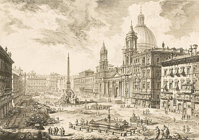 Etching Drawing - Piazza Navona by Giovanni Battista Piranesi