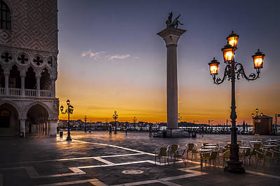 Photograph - Sunset Pictures Piazza San Marco Venice by Alex Saunders