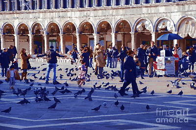 Photograph - Piazza San Marco Frolic - Impression by Jacqueline M Lewis