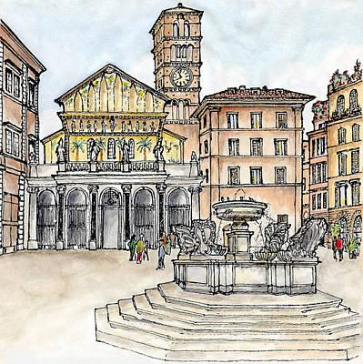 Nightlife Mixed Media - Piazza Santa Maria In Trastevere Rome by Janine Borchgrevink