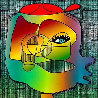Picasso Inspired Cartoon Art Print by Iris Gelbart