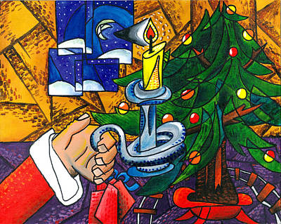 Candel Painting - Picasso Style Christmas Tree - Cover Art by E Gibbons