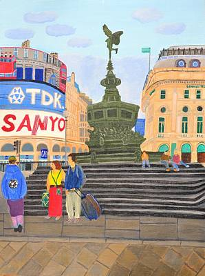 Art Print featuring the painting London- Piccadilly Circus by Magdalena Frohnsdorff