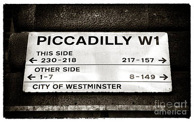 Street Signs Photograph - Piccadilly W1 by John Rizzuto