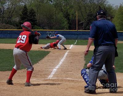 Pick Off Attempt At 1st Base Print by Thomas Woolworth