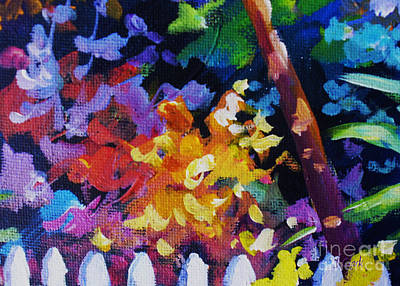 Vivid Colour Painting - Picket Fence And Bushes by John Clark
