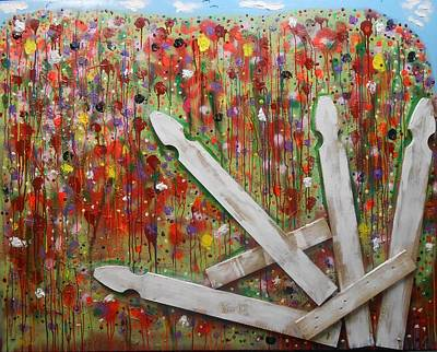Painting - Picket Fence Flower Garden by Gh FiLben
