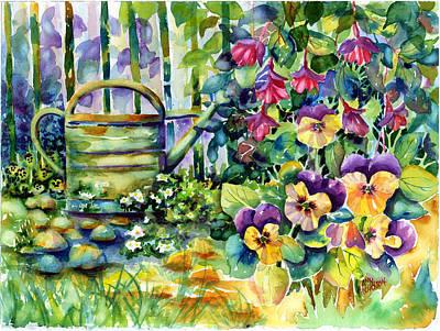 Picket Fence Pansies Art Print