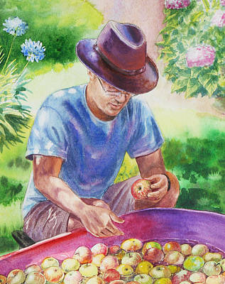 Picking Apples Art Print by Irina Sztukowski