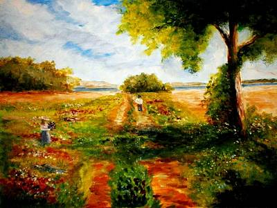 Painting - Picking Flowers by Constantinos Charalampopoulos