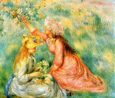Digital Art - Picking Flowers by Renoir