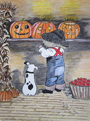 Painting - Picking Out The Halloween Pumpkin by Kathy Marrs Chandler