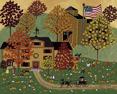 Pumpkin Patch Painting - Picking Pumpkins by Medana Gabbard