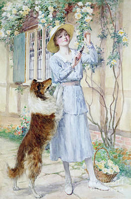 Charming Cottage Painting - Picking Roses by William Henry Margetson