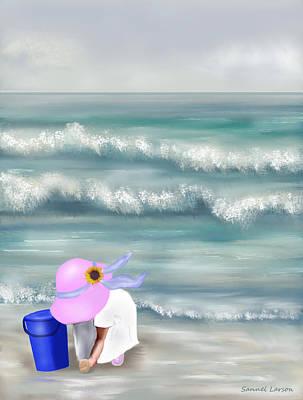 Digital Art - Picking Sea Shells  by Sannel Larson