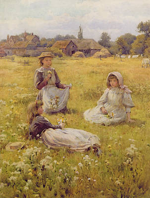 Picking Wild Flowers Wc On Paper Art Print by William Affleck