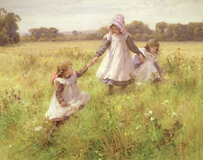 Meadow Painting - Picking Wild Flowers by William Affleck