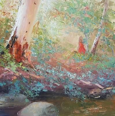 Landscape With Creek Painting - Picking Wildflowers  by Jan Matson