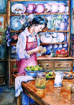 Woman Painting - Pickling Pears  by Trudi Doyle
