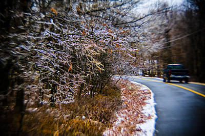 Photograph - Pickup On The Road In Winter Forest by Alex Potemkin