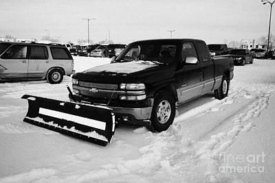 pickup truck fitted with snowplow in car park Saskatoon Saskatchewan Canada Art Print