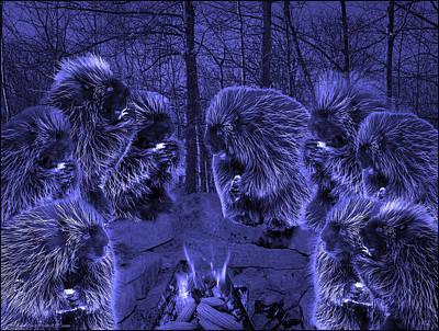 Fire Photograph - Picky Eaters In The Blue Moonlight by LeeAnn McLaneGoetz McLaneGoetzStudioLLCcom