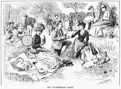Watermelon Drawing - Picnic, 1886 by Granger