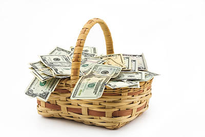 Photograph - Picnic Basket Full Of Money by Keith Webber Jr