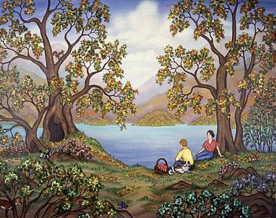 Fall Trees Painting - Picnic By A Lake by Linda Mears