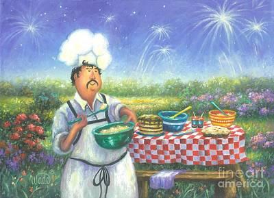 Picnic Chef Art Print by Vickie Wade