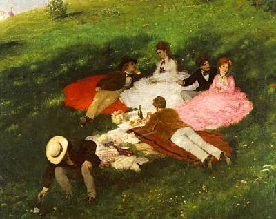 Hungary Painting - Picnic In May by Pal Szinyei Merse
