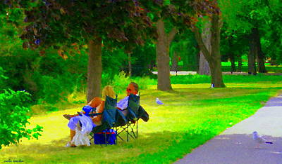 Sunday Picnic Painting - Picnic In The Park Lakeshore Drive Romantic Summer Scene  Near Dorval Montreal Art Carole Spandau by Carole Spandau
