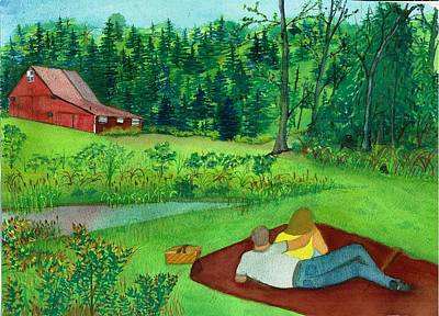 Picnic On The Farm Art Print