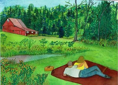 Picnic On The Farm Art Print