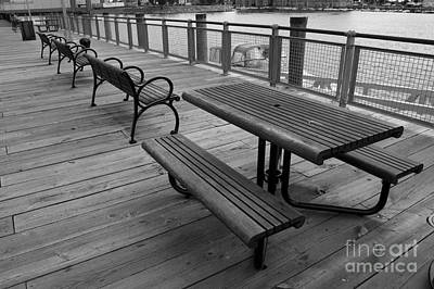 Photograph - Picnic Table And Benches On Bordwalk by Tom Brickhouse