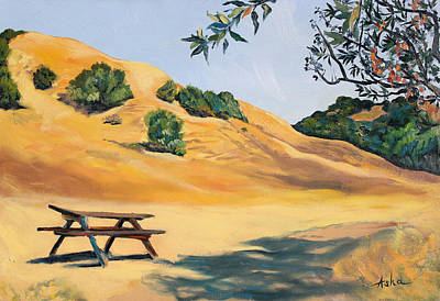 Berkeley Painting - Picnic Table And Yellow Hills At Briones Park by Asha Carolyn Young