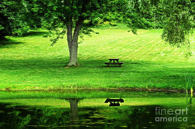 Photograph - Picnic Table By The Lake by Dawn Gari