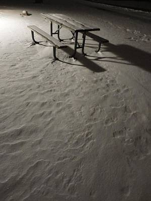 Picnic Table In The Untried Snow Art Print by Guy Ricketts
