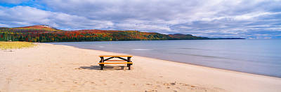 Picnic Table Photograph - Picnic Table On Beach At Keweenaw Bay by Panoramic Images