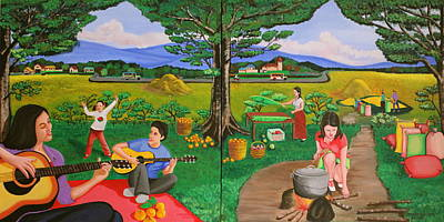 Picnic With The Farmers And Playing Melodies Under The Shade Of Trees Art Print by Lorna Maza