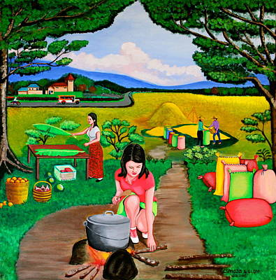 Rice Field Painting - Picnic With The Farmers by Cyril Maza