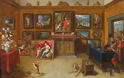 Parrot Photograph - Picture Gallery With A Man Of Science Making Measurements On A Globe, 1612 Oil On Panel by Frans II the Younger Francken