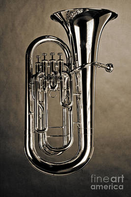 Photograph - Picture Of Bass Tuba Brass Instrument In Sepia 3394.01 by M K  Miller