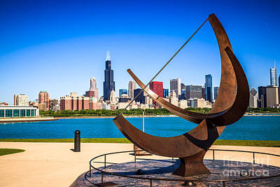 Downtown Chicago Wall Art - Photograph - Picture Of Chicago Adler Planetarium Sundial by Paul Velgos