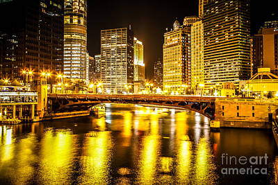 Picture Of Chicago At Night With State Street Bridge Print by Paul Velgos