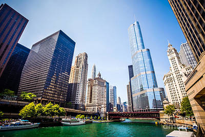 Picture Of Chicago Skyline At Michigan Avenue Bridge Art Print by Paul Velgos