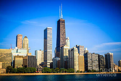 City Scenes Royalty-Free and Rights-Managed Images - Picture of Chicago Skyline with Hancock Building by Paul Velgos