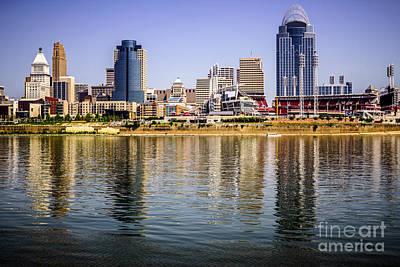 Picture Of Cincinnati Skyline And Ohio River Art Print by Paul Velgos