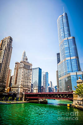 Picture Of Downtown Chicago With Trump Tower Art Print by Paul Velgos